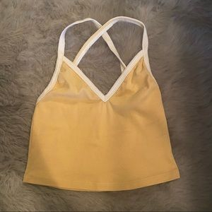 White and Yellow Cropped Top